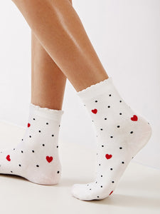 Heart & Polka Dot Socks 1pair [chicberri]