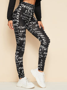Letter Print Leggings [chicberri]