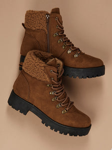 Faux Fur Collar Heavy Sole Mountain Boots [chicberri]