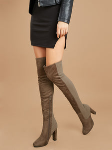Stretch Thigh High Chunky Heel Boots [chicberri]