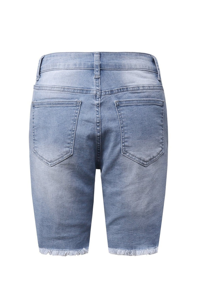 Sky Blue Button Front Distressed Shorts [chicberri]