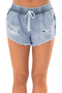 Faded Distressed Denim Shorts [chicberri]