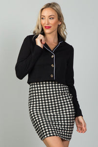 Ladies fashion black and white detail open front cropped blazer [chicberri]