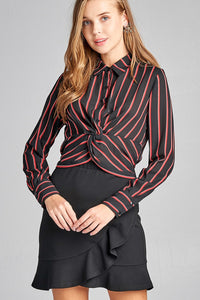 Ladies fashion long sleeve front button w/twisted detail stripe print woven shirt [chicberri]