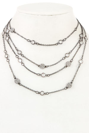 Multi layered crystal gem station necklace [chicberri]