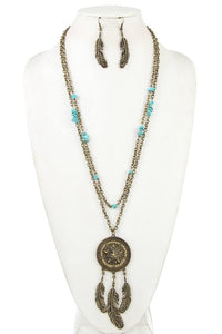 Dream catcher gemstone bead necklace set [chicberri]