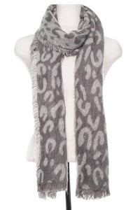 Animal print oblong fringe scarf [chicberri]