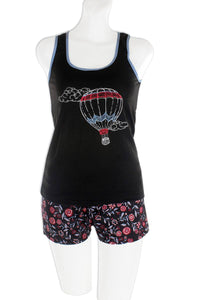 Knit Racerback Tank With Printed Shorts Set [chicberri]