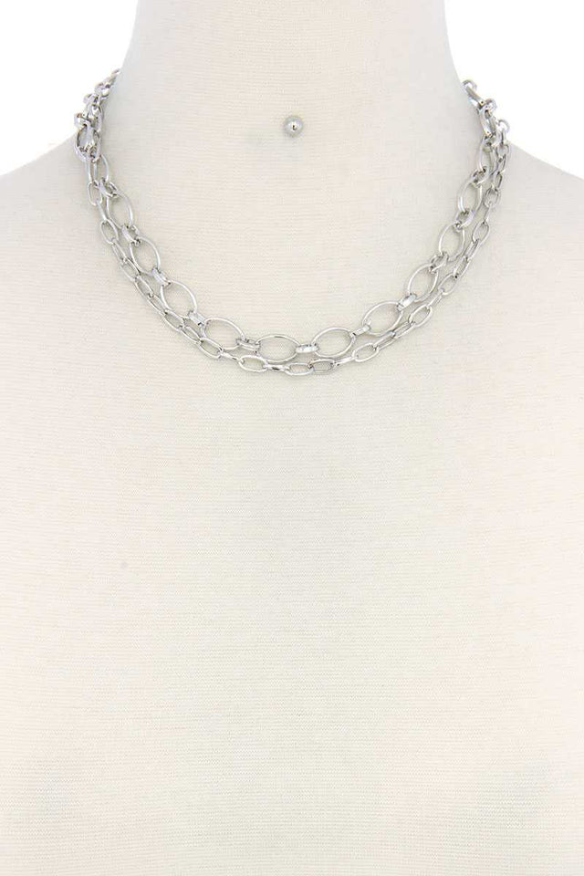 Metal Chain Layered Necklace [chicberri]