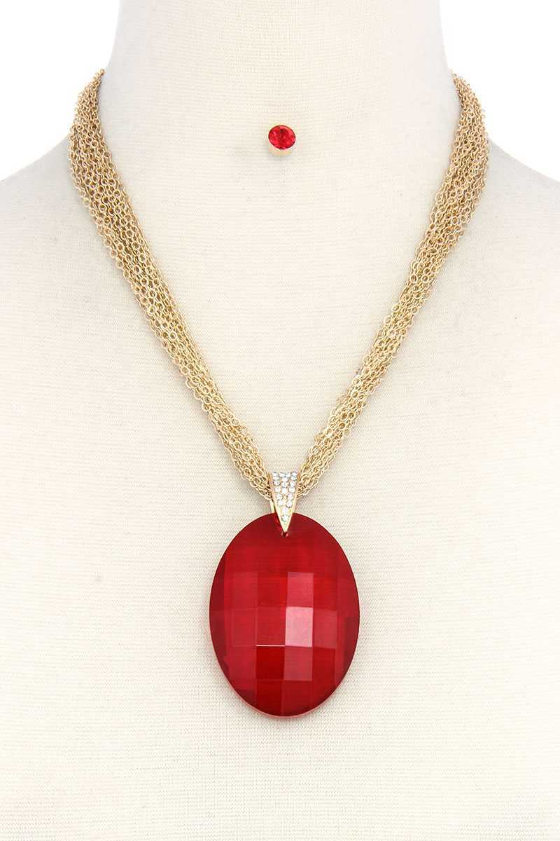 Oval Shape Pendant Necklace [chicberri]
