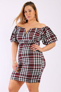 Plaid Short Dress With Bubble, Puff, Off The Shoulder Short Sleeves And V Neck Design