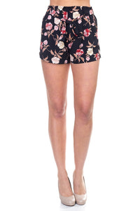 Floral Belted Mini Shorts [chicberri]