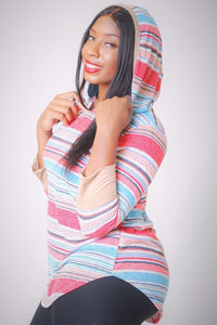 Striped, Hip Length Hoodie Top [chicberri]