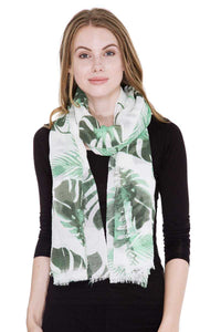 Leaves Print Oblong Scarf [chicberri]