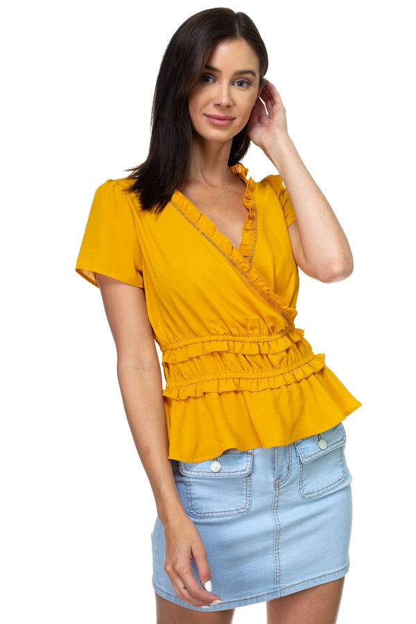 Shirring Ruffle Cropped Top [chicberri]