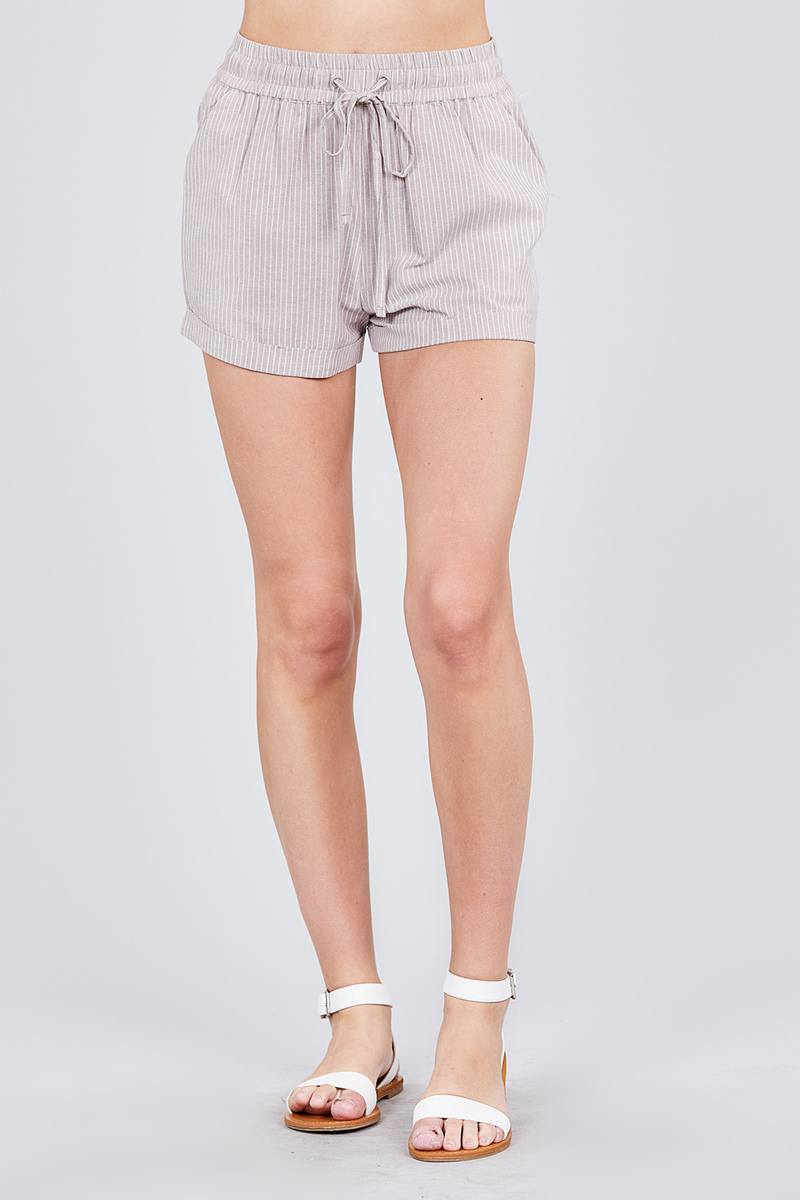 Waist Elastic W/drawstring Yarn Dye Stripe Short Pants [chicberri]