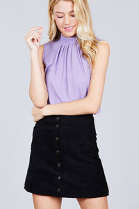 Sleeveless Mock Neck Back Button Woven Top [chicberri]