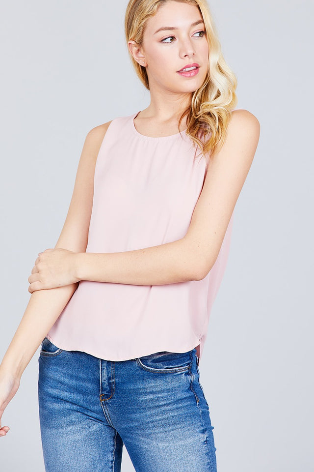 Sleeveless Round Neck Back Button Detail Woven Top [chicberri]