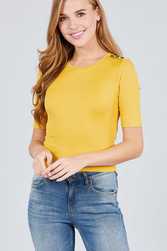 Elbow Sleeve Crew Neck W/shoulder Button Detail Rib Knit Top [chicberri]