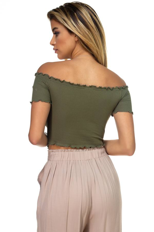 Hook & Eye Ribbed Off The Shoulder Top [chicberri]