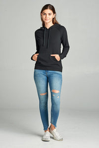 Long Sleeve Pullover French Terry Hoodie Top W/ Kangaroo Pocket [chicberri]