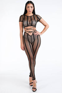 Fishnet Stripe Strappy Top & Leggings Set [chicberri]