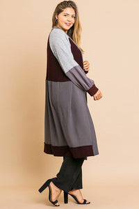 Colorblocked Long Puff Sleeve Ribbed Knit Long Open Front Sweater Cardigan [chicberri]
