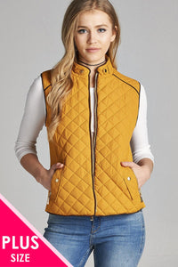 Quilted Padding Vest With Suede Piping Details [chicberri]