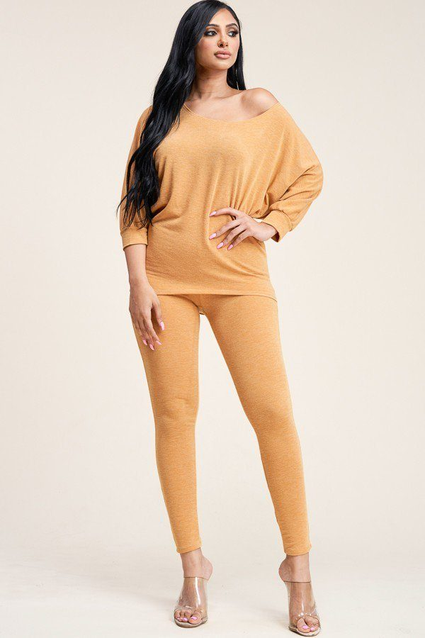 Solid French Terry Slouchy Top And Pants Two Piece Set [chicberri]