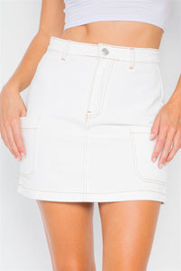 Ivory Cotton Mini Retro Chic Denim Skirt [chicberri]