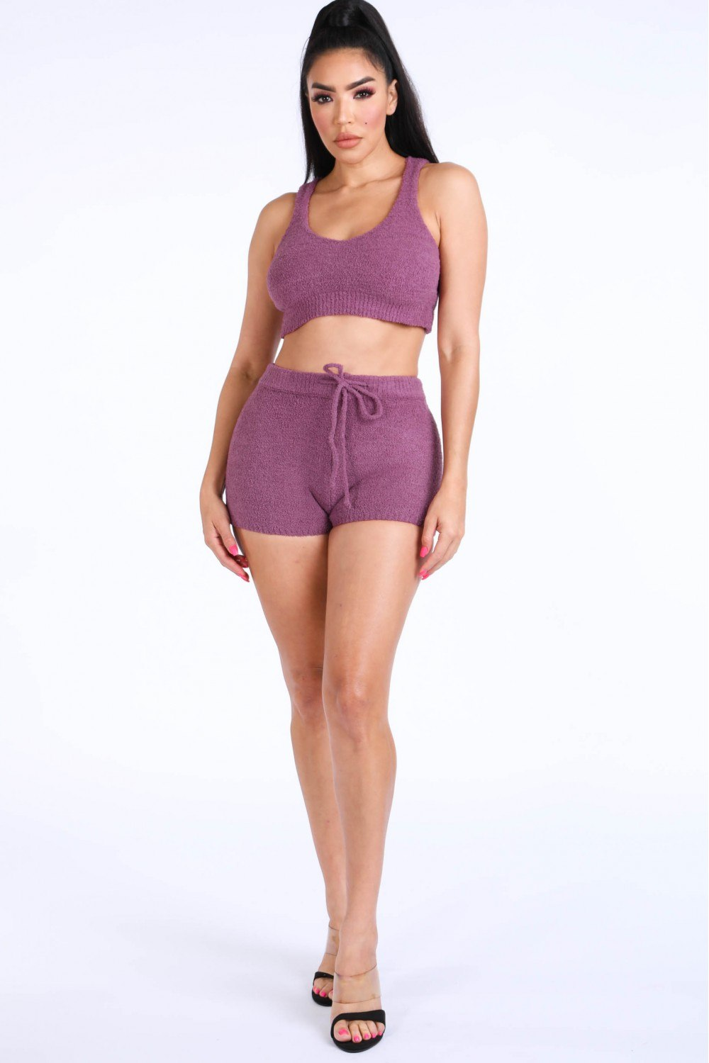 Textured Knitted Tank Top Short Set [chicberri]