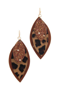 Pu Leather Pointed Drop Earring