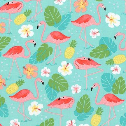 Flamingo Paradise Turqouise Yardage by Katherine Lenius for RK - AAK-17995-81 - PRICE PER 1/2 YARD