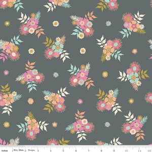 Meadow Lane Posies Gray Yardage for C10121 GRAY - PRICE PER 1/2 YARD
