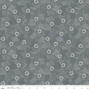 Meadow Lane Scribbled Floral Gray Yardage for C10123 GRAY - PRICE PER 1/2 YARD