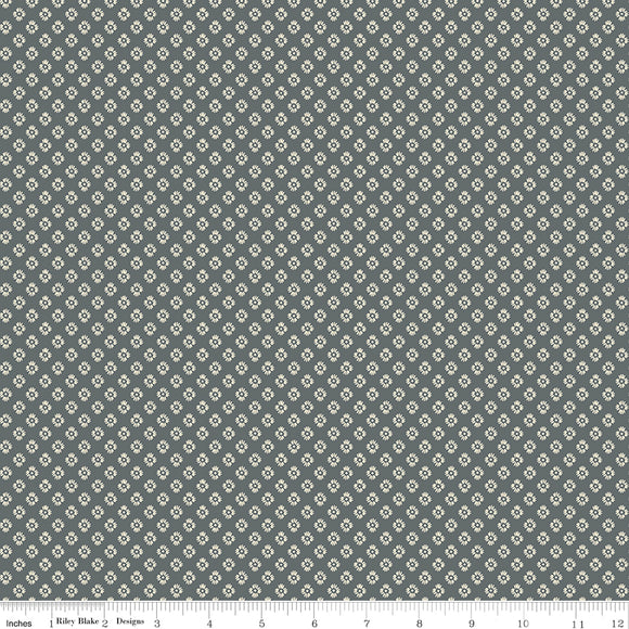 Meadow Lane Dashed Daisies Gray Yardage for C10124 GRAY - PRICE PER 1/2 YARD