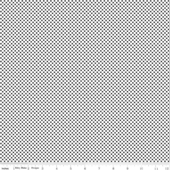 Kisses on White Color Black Yardage by Doodlebug Designs for RBD-C220-BLACK- PRICE PER 1/2 YARD