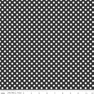 Small Dots Black Yardage by RBD for Riley Blake Designs C350-110 - PRICE PER 1/2 YARD