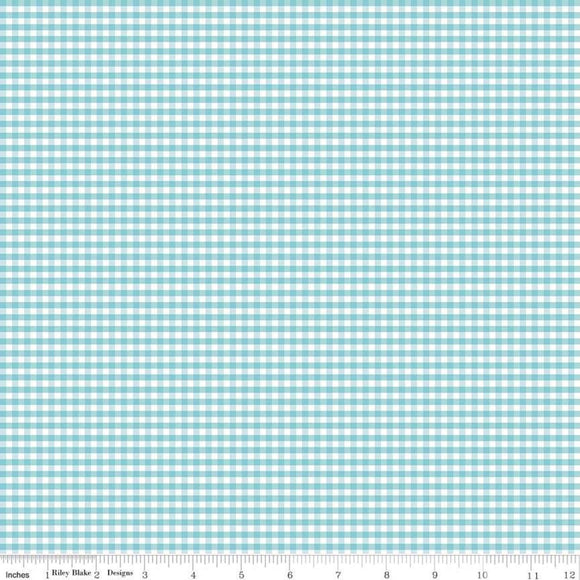 Gingham Aqua 1/8 inch Small Yardage by RBD C440-20 - PRICE PER 1/2 YARD