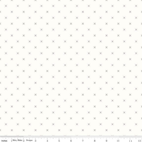 Backgrounds Cross Stitch Gray Yardage by Lori Holt for Riley Blake Designs-C6381 - PRICE PER 1/2 YARD