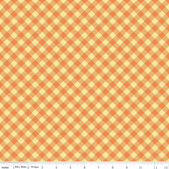 Bee Basics Gingham Orange Yardage by Lori Holt for Riley Blake Designs-C6400 - PRICE PER 1/2 YARD