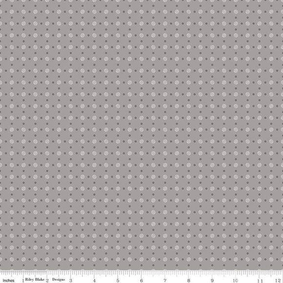 Bee Backgrounds Polka Dot Gray Yardage by Lori Holt for RBD-C6405- PRICE PER 1/2 YARD