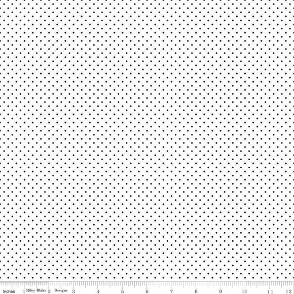 Swiss Dot On White Black Dot Yardage for RBD C660-110 - PRICE PER 1/2 YARD