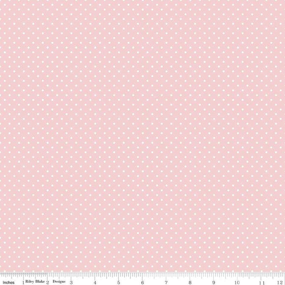 Swiss Dot Baby Pink Yardage by Riley Blake Designs C670 - PRICE PER 1/2 YARD