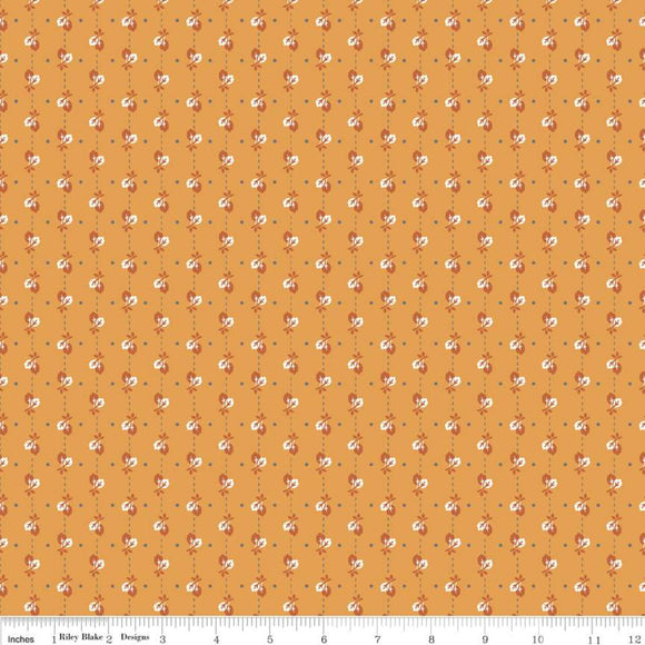 Autumn Love Leaves Orange Yardage by Lori Holt for Riley Blake Designs-C7363 - PRICE PER 1/2 YARD