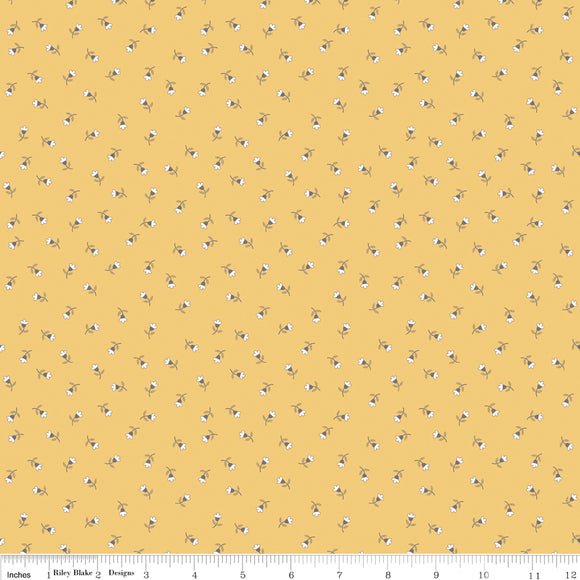 Autumn Love Blossom Yellow Yardage by Lori Holt for RBD-C7369 YELLOW - PRICE PER 1/2 YARD