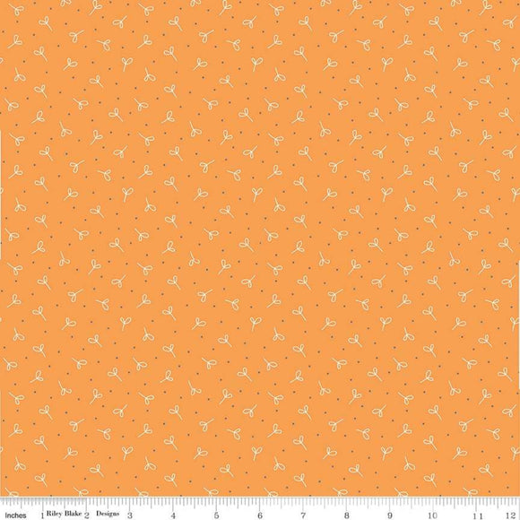 Farm Girl Seekling Orange Yardage by Lori Holt for Riley Blake Designs-C7880 - PRICE PER 1/2 YARD