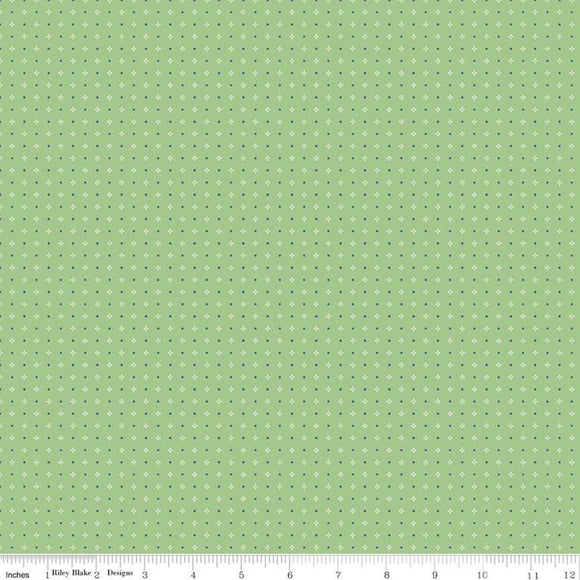 Farm Girl Calico Green Yardage by Lori Holt for RBD-C7884 - PRICE PER 1/2 YARD