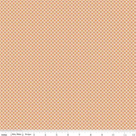 Farm Girl Vintage Flower Flat Orange Yardage by Lori Holt for RBD-C7885 - PRICE PER 1/2 YARD