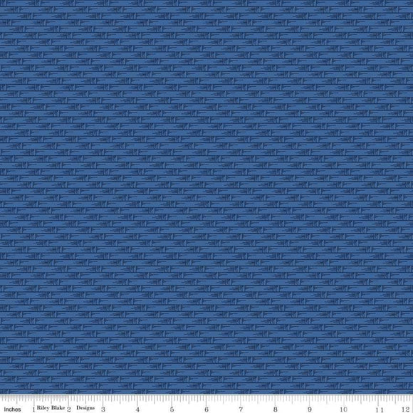 Harry & Alice Basket Weave Blue Yardage for RBD C8477 - PRICE PER 1/2 YARD